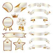 Conjunto de cinta blanca y oro — Vector de stock