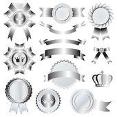 Silver emblem set — Stock Vector