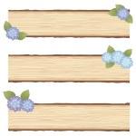 Hydrangea wood board — Stock Vector #69845527