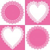 Circle and heart lace — Stock Vector