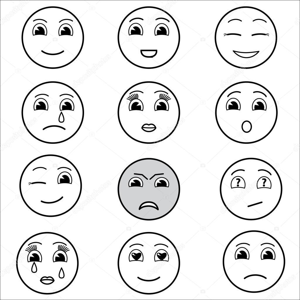 Set of emoticons set of emoji smile icons isolated - Smiley en noir et blanc ...