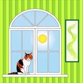 Red cat and window — Stockvektor
