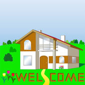 Home on the lawn — Stock Vector