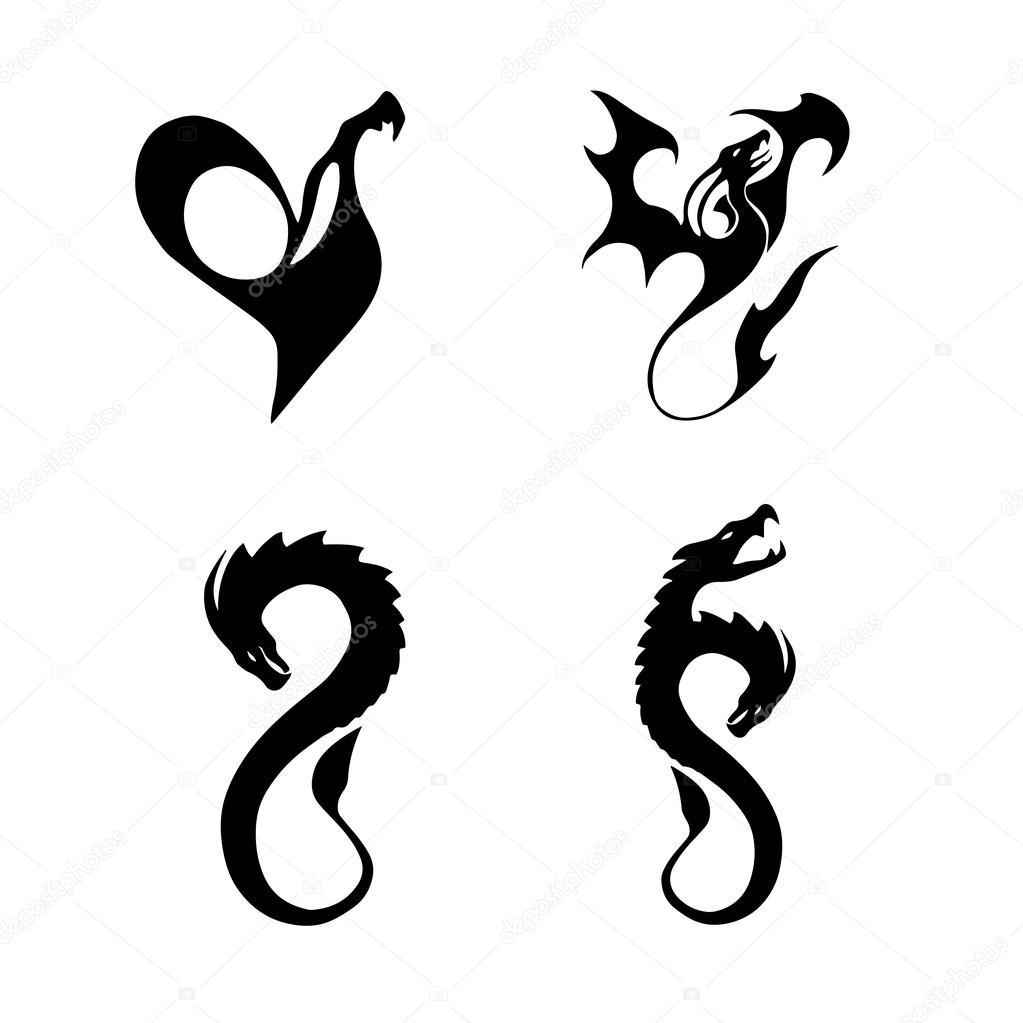 Nero stilizzato immagini vettoriali dei draghi