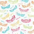 Seamless colorful pattern with carnival masks. Vector. — Stock Vector #70174249