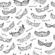 Seamless monochrome pattern with carnival masks. Vector. — Stock Vector #70174261