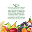 Template brochure or flyer with a decorative design made of fruits in watercolor style on a white background. Place for your text. Vector. — Stock Vector #70174281