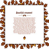 Template greeting card with frame of autumn oak leaves and acorns. Place for your text Vector — Stock Vector