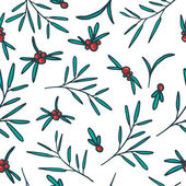 Seamless pattern with red berries, twigs and leaves. White background. Vector. — Stock Vector