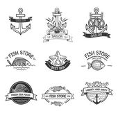 Retro Vintage Insignias or Logotypes set with with fish, sea elements and ribbons. Vector design elements, business signs, logos, identity, labels, badges and objects. Hand drawn style. Vector — Stok Vektör