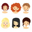 Girls with different types of hairstyles — Stock Vector #71312451