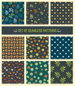 Set of nine seamless patterns. — Stock vektor