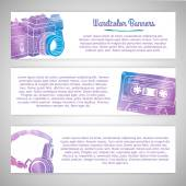 Set of templates or horizontal banners — Stock Vector