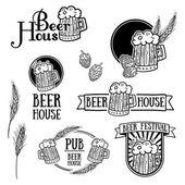 Set of vintage monochrome retro logos — Stock Vector