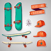 Set of stickers and labels with skateboards and caps — Stock Vector