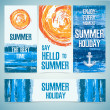A set of banners, cards, headers for the summer holidays. Texture of water and the silhouette of the sun. Place for your text. Vector. — Stock Vector #74585037