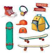 Set of elements with skateboards — Stock Vector