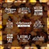 Logotypes set. Autumn badges — Stock Vector