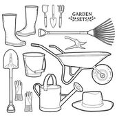 Monochrome set of garden tools. — Stock Vector