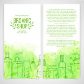 Brochures organic cosmetics — Stock Vector