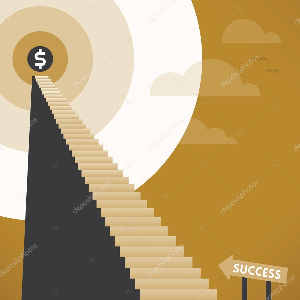 Abstrakt trappa till företagets framgång med glänsande dollar ...