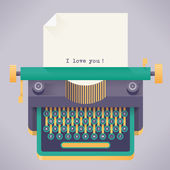 Vintage typewriter with I love you words — Stock Vector