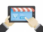Businessman buying suit — Vector de stock