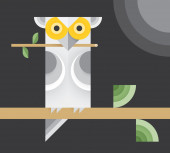Owl with the branch — Stock Vector