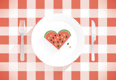 Heart shaped slice of watermelon. — Stock Vector