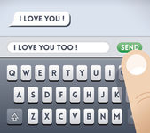 """""""I love you"""" incoming SMS message — Stock Vector"""