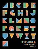 "Pop art style ""Picasso"" alphabet . — Stock Vector"