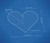 Love Blueprint with heart symbol. — Stockvektor