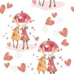 Decorative hipster rabbits in love — Stock Vector #69834381
