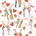 Decorative hipster rabbits in love — Stock Vector #69835313