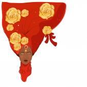 African girl in turban — Stock Vector