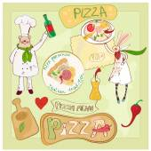 Pizza set with bear and rabbit — Stock Vector