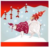 Polar bear with christmas tree — Stock Vector