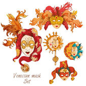 Venetian mask set — Stock Vector