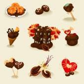 Chocolate tasty icons set — Stock Vector