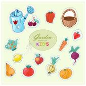 Cartoon fruits and vegetables set — Vector de stock