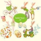 Jarní sada králíků — Stock vektor