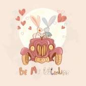 Hipster  rabbits in love — Stock Vector