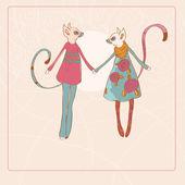装饰艺术复古狐猴 — 图库矢量图片