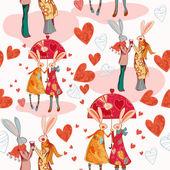 Cartoon rabbits in love — Stockvektor