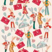 Hipster pattern with bags and rabbits — 图库矢量图片