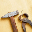 Old rusty tools on wooden board — Stock Photo #69852341