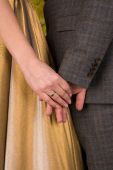 Man holding the hand of his woman — Stock Photo