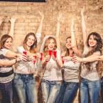 Girls celebrate a bachelorette party of bride — Stock Photo #71491149