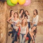 Girls celebrate a bachelorette party of bride — Stock Photo #71491157