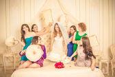 Girls celebrate a bachelorette party of bride. bridesmaids fight — Stock Photo